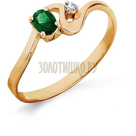 Кольцо с изумрудом и бриллиантом Т141011839_2