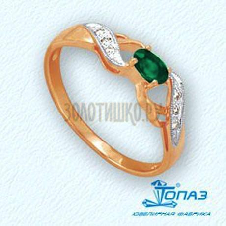 Кольцо с изумрудом и бриллиантами Т141011922_3