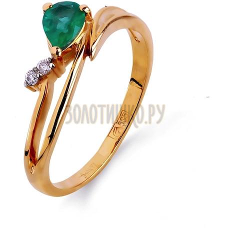 Кольцо с изумрудом и бриллиантами Т141011966_2