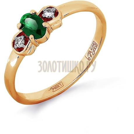 Кольцо с изумрудом и бриллиантами Т141011980