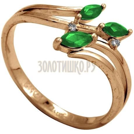 Кольцо с изумрудами и бриллиантами Т141012037_3