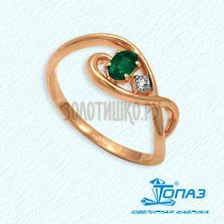 Кольцо с изумрудом и бриллиантом Т141012041_3