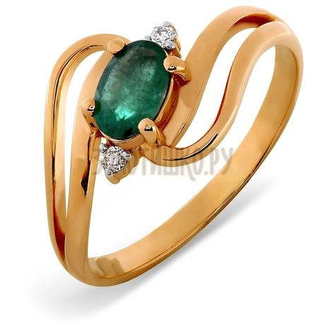 Кольцо с изумрудом и бриллиантами Т141012049_3