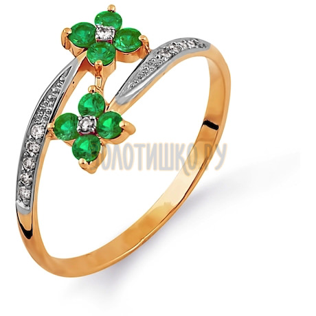 Кольцо с изумрудами и бриллиантами Т141014332
