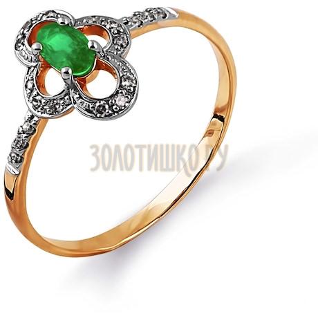 Кольцо с изумрудом и бриллиантами Т141014377