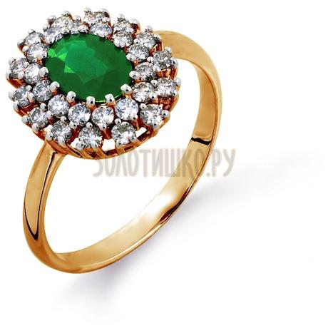 Кольцо с изумрудом и бриллиантами Т141014606