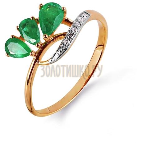 Кольцо с изумрудами и бриллиантами Т141014982