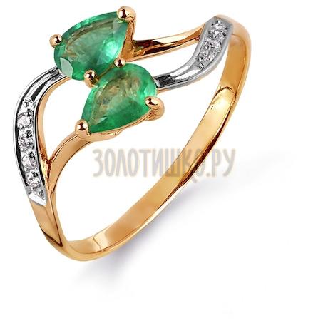Кольцо с изумрудами и бриллиантами Т141014986