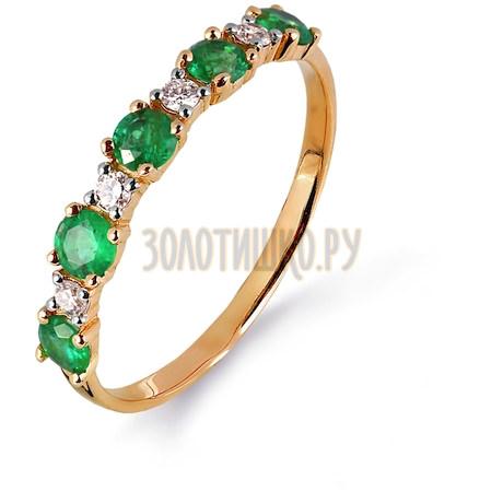 Кольцо с изумрудами и бриллиантами Т141014990