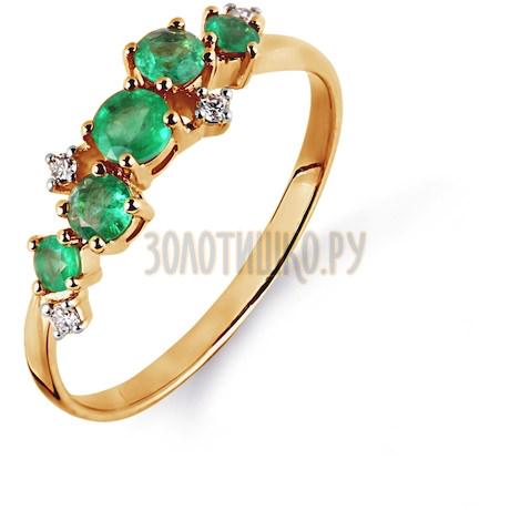 Кольцо с изумрудами и бриллиантами Т141014991