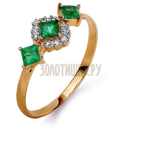 Кольцо с изумрудами и бриллиантами Т141015369