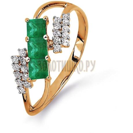 Кольцо с изумрудами и бриллиантами Т141015370