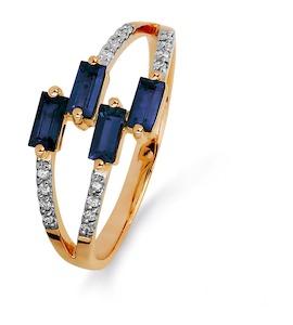 Кольцо с сапфирами и бриллиантами Т141015375