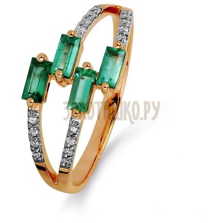 Кольцо с изумрудами и бриллиантами Т141015375_3