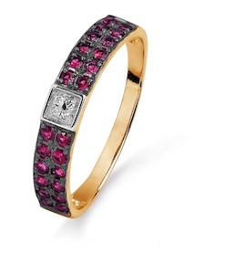 Кольцо с рубинами и бриллиантами Т141015404_2