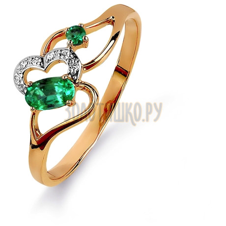 Кольцо с изумрудами и бриллиантами Т141015427_3