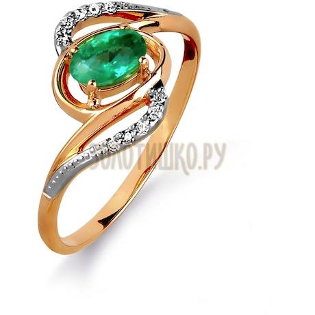 Кольцо с изумрудом и бриллиантами Т141015429
