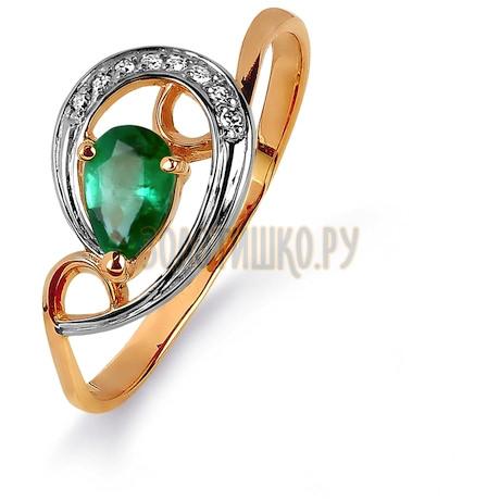 Кольцо с изумрудом и бриллиантами Т141015431