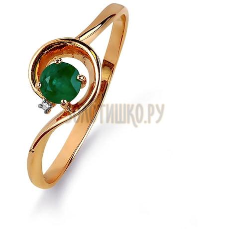 Кольцо с изумрудом и бриллиантом Т141015437