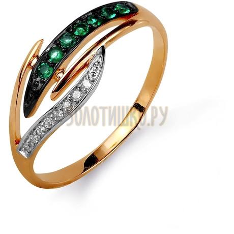 Кольцо с изумрудами и бриллиантами Т141015616