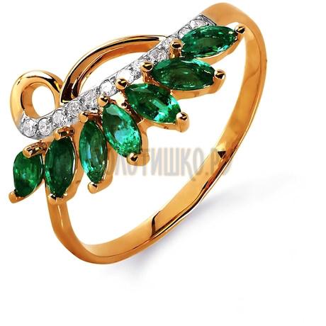 Кольцо с изумрудами и бриллиантами Т141015737_3
