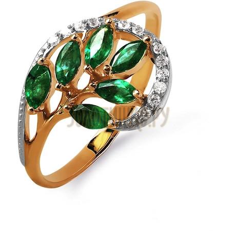Кольцо с изумрудами и бриллиантами Т141015738