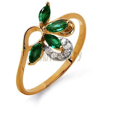 Кольцо с изумрудами и бриллиантами Т141015741_3