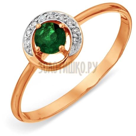 Кольцо с изумрудом и бриллиантами Т141015768
