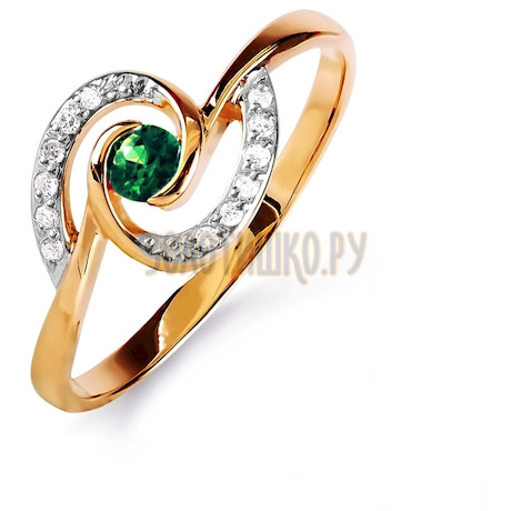 Кольцо с изумрудом и бриллиантами Т141015836_3