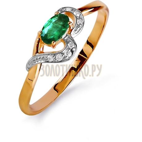 Кольцо с изумрудом и бриллиантами Т141015837