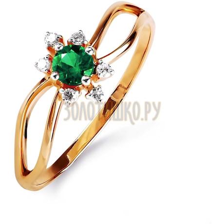 Кольцо с изумрудом и бриллиантами Т141015840_3