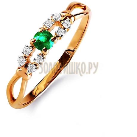 Кольцо с изумрудом и бриллиантами Т141015843