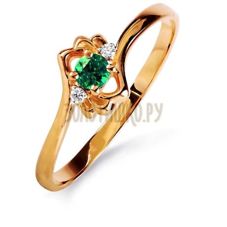 Кольцо с изумрудом и бриллиантами Т141015854_3