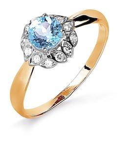 Кольцо с топазом и бриллиантами Т141015891