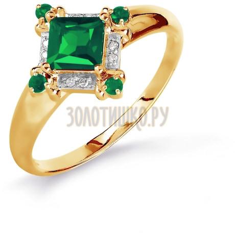Кольцо с изумрудами и бриллиантами Т141016082