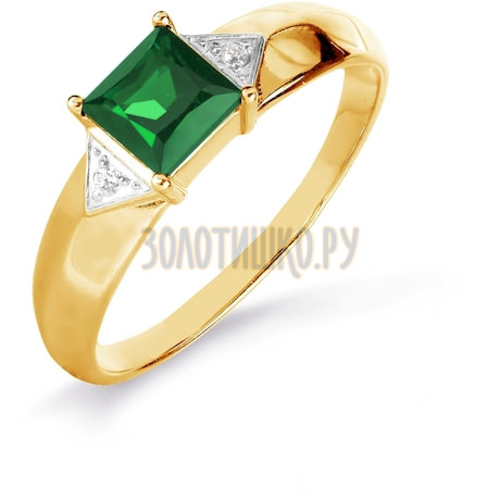 Кольцо с изумрудом и бриллиантами Т141016087_2