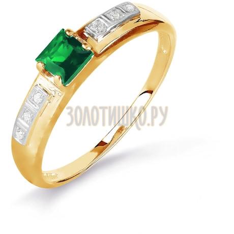 Кольцо с изумрудом и бриллиантами Т141016088