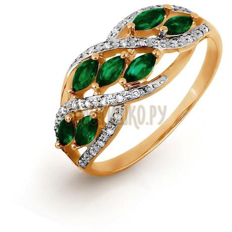 Кольцо с изумрудами и бриллиантами Т141016299