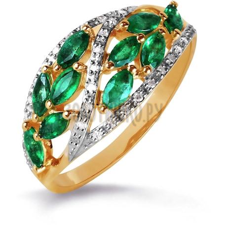 Кольцо с изумрудами и бриллиантами Т141016300