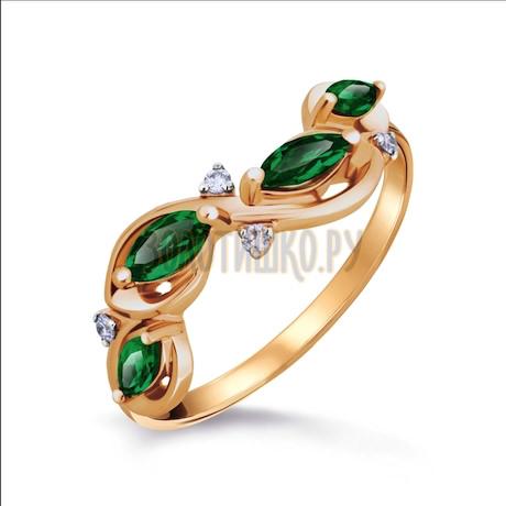 Кольцо с изумрудами и бриллиантами Т141016302_2