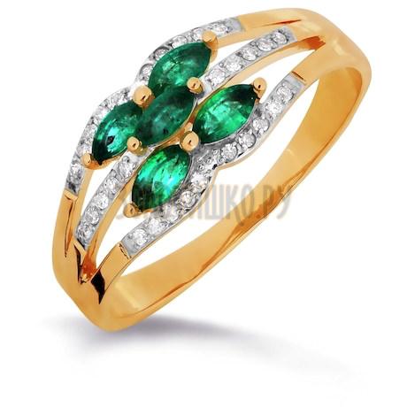 Кольцо с изумрудами и бриллиантами Т141016304