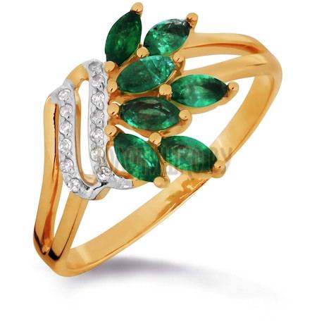 Кольцо с изумрудами и бриллиантами Т141016306