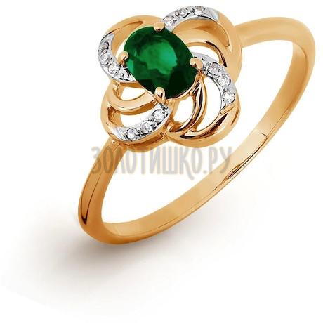 Кольцо с изумрудом и бриллиантами Т141016325
