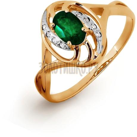 Кольцо с изумрудом и бриллиантами Т141016326-1