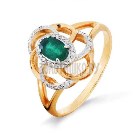 Кольцо с изумрудом и бриллиантами Т141016327_2