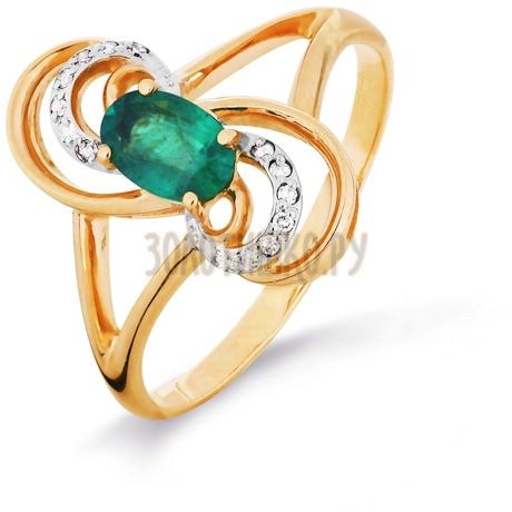 Кольцо с изумрудом и бриллиантами Т141016328_2