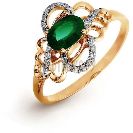 Кольцо с изумрудом и бриллиантами Т141016422_2