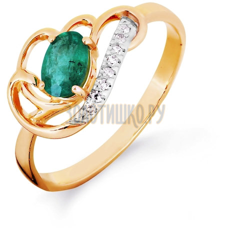 Кольцо с изумрудом и бриллиантами Т141016423