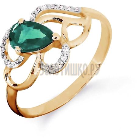 Кольцо с изумрудом и бриллиантами Т141016424