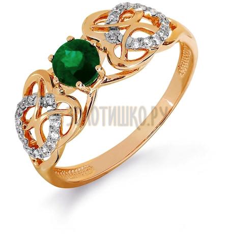 Кольцо с изумрудом и бриллиантами Т141016427